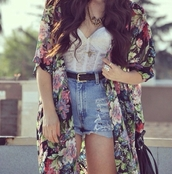 shorts,necklace,belt,flowers,blouse,bag,jacket,shirt,lace bustier,white,sweater,high waisted,floral,lace,bralette,crop tops,ring,tank top,girl,cardi,pattern,dress,floral print blouse,high waisted denim shorts,cardigan,cute,flow,kimono,floral kimono,chiffon blouse,jewels