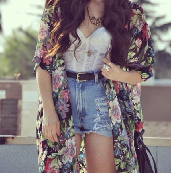 shorts necklace belt flowers blouse bag jacket shirt lace bustier white sweater high waisted floral lace bralette crop tops ring tank top floral girl cardi pattern dress floral print blouse high waisted denim shorts cardigan cute flow kimono kimono floral kimono chiffon blouse jewels