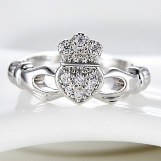 jewels claddagh ring silver ring white gold plated aaa cubic zirconia inlaid claddagh ring claddagh engagement ring evolees.com