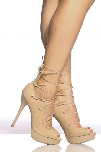3abe305761cc Natural Faux Suede Peep Toe Platform Lace Up Heels   Cicihot Heel Shoes  online store sales Stiletto ...