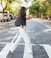 pants,wide-leg pants,white pants,checkered,high heels boots,blouse