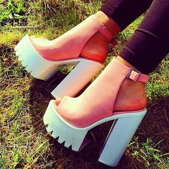 platform shoes white pink