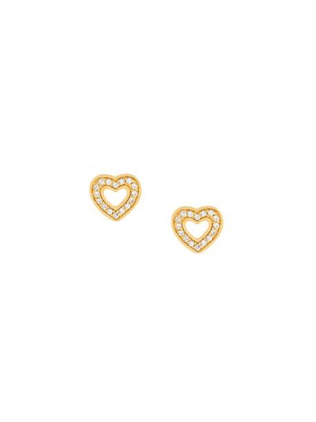 heart mini women earrings stud earrings gold grey metallic jewels