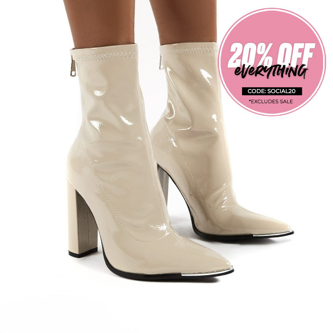 Affection  Patent Wide Fit Block Heeled Ankle Boots