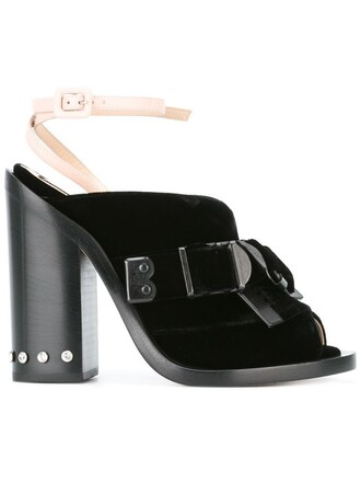 women sandals leather black velvet shoes