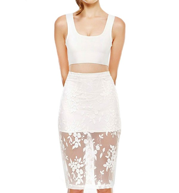 Cropped vest & embroidered mesh overlay skirt co