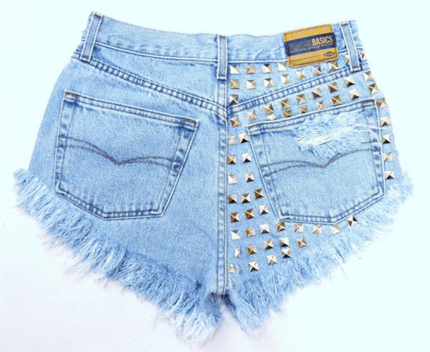 shorts jeans studded studded shorts light blue denim vintage dress underwear shoes top cut off shorts cut offs High waisted shorts runwaydreamz ripped shorts tank top bra sweater high heels