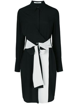 dress shirt dress women black silk