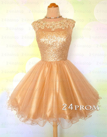 Champagne Tulle Lace Short Prom Dress, Homecoming Dress - 24prom