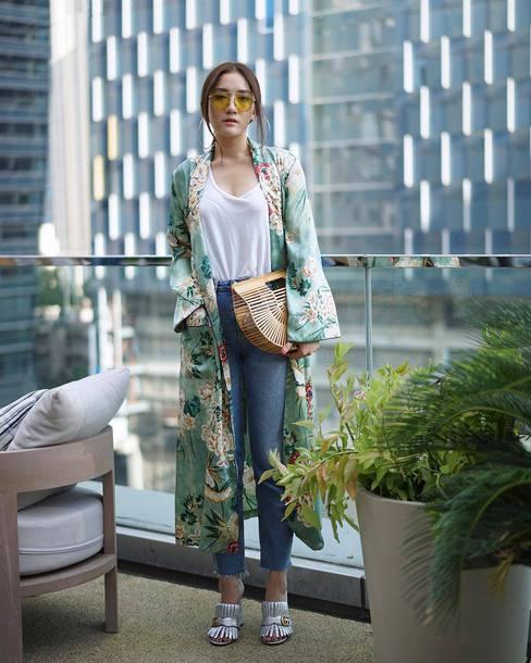 3903a95698d bag tumblr basket bag denim jeans blue jeans mules metallic gucci gucci  shoes top kimono white