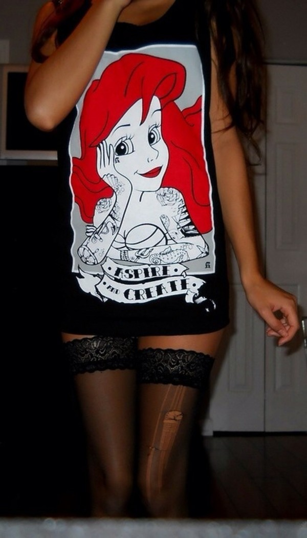 shirt the little mermaid the little mermaid the little mermaid red head tattoo tights underwear