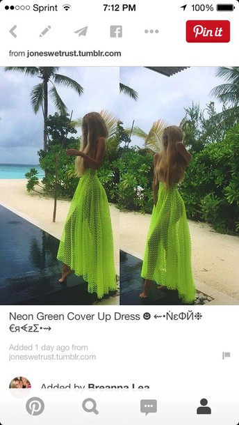 dress green dress style sexy dress fashion cover green neon dress neon beach summer dress