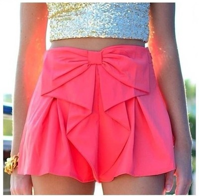 Bow Shorts - Mint & Pink