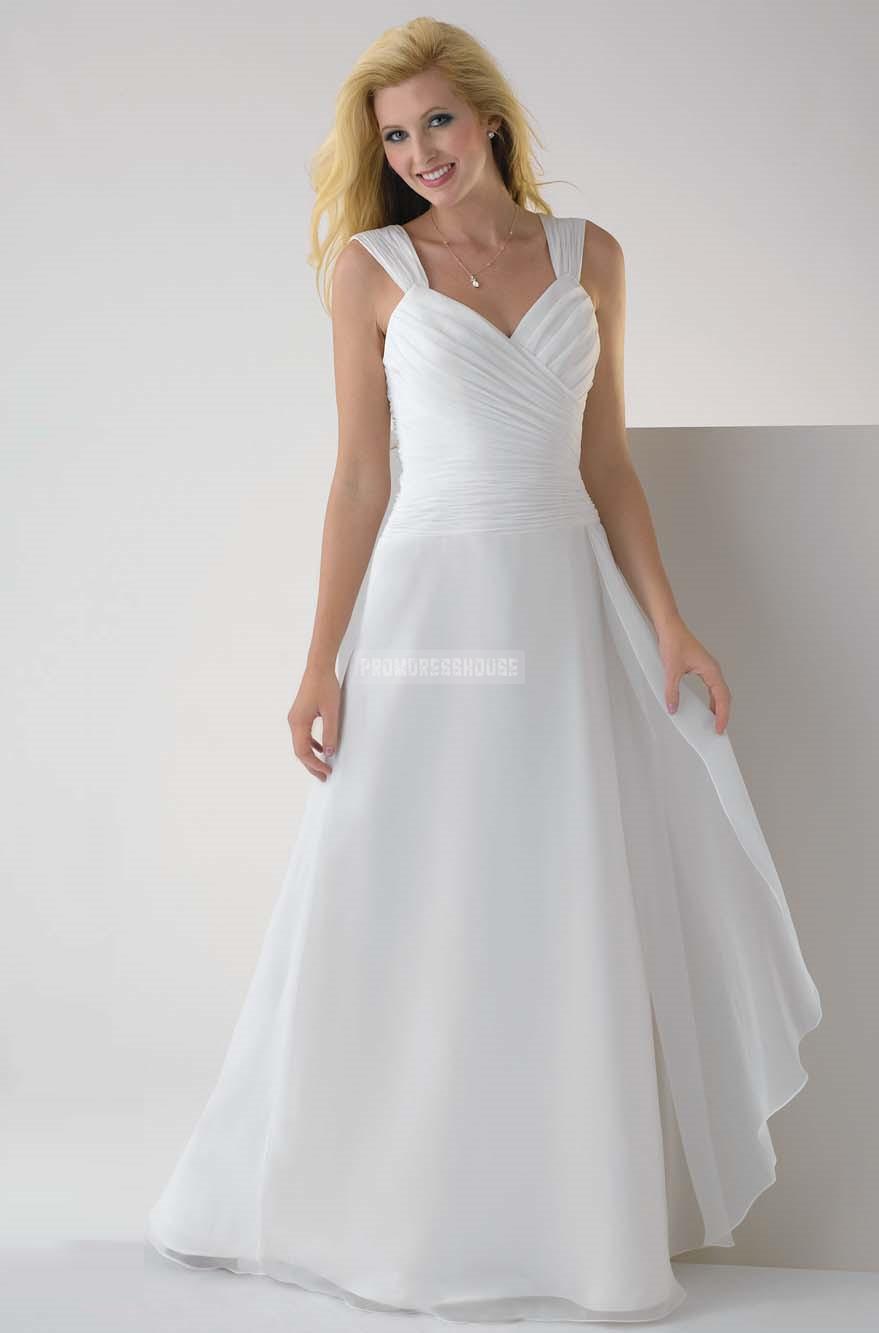 White Straps Floor Length Chiffon A-line Evening Dress - Promdresshouse.com