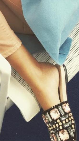shoes gemstone bling rhinestones flat sandals