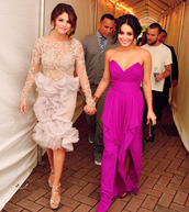 dress,maxi dress,prom dress,long dress,vanessa hudgens,purple,red carpet,hollywood
