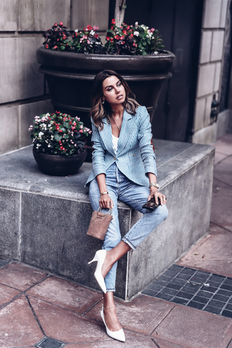 vivaluxury - fashion blog by annabelle fleur: nyfw mini moment blogger jacket jeans jewels bag shoes sunglasses blazer striped jacket pumps white heels spring outfits