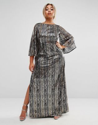 1e371b5ff85 Lovedrobe Luxe All Over Embellished Kimono Sleeve Maxi Dress at ...