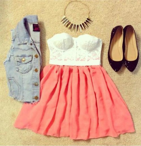 skirt jacket dress prom bag pink cute blue prom dress pretty perfect fashion outfit white high heels black top swag shirt vest clothes peach jean vest skirts spikes bustier shoes jewels flats skater neclace where can i get this dress