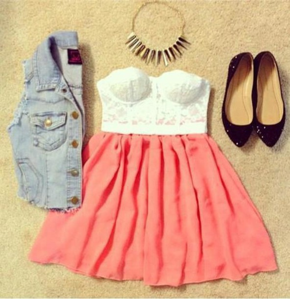 shirt vest clothes peach jean vest skirt spikes