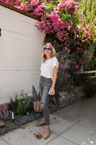 jeans tumblr grey jeans denim t-shirt white t-shirt shoes flats bag nude bag sunglasses