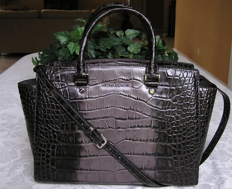 Michael Kors Selma Large Croco Croc Leather Top Zip Satchel Bag Purse Grey NWT