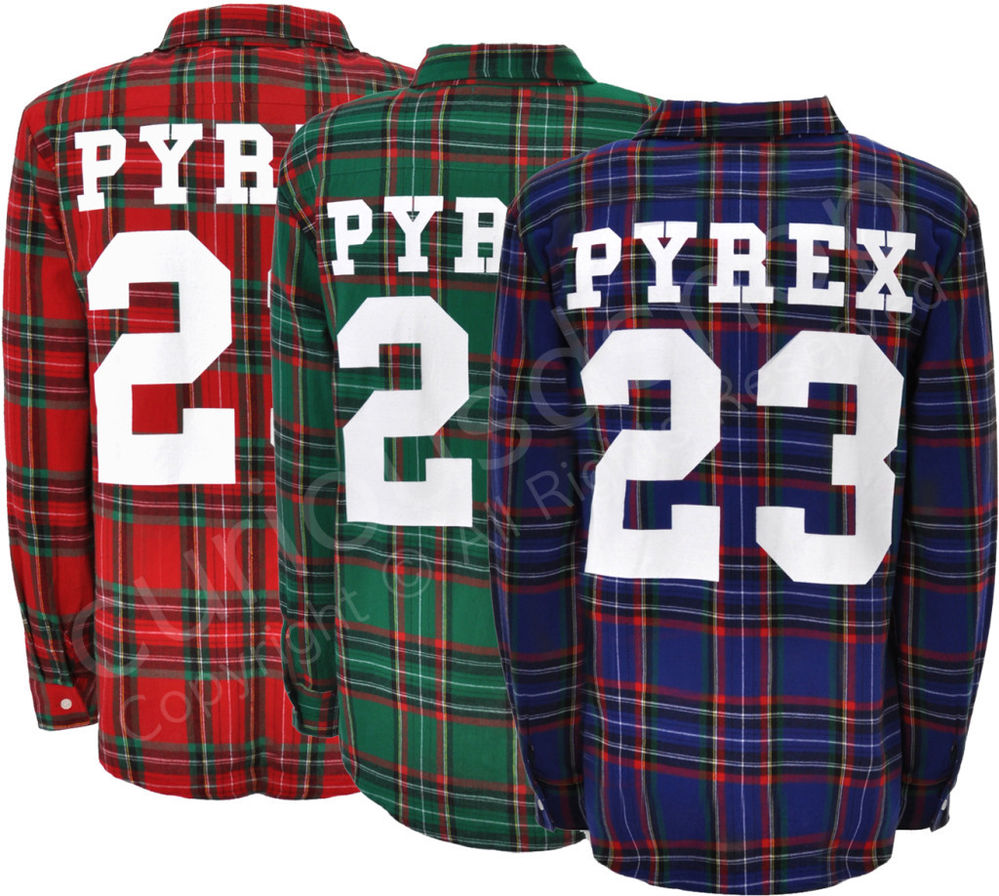 New Pyrex 23 Flannel Plaid Check Shirt M L Red Green Blue Kanye Celebrity