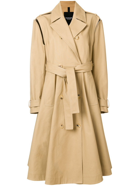 Calvin Klein 205W39nyc - removable sleeve trench coat - women - Cotton - 44, Nude/Neutrals, Cotton
