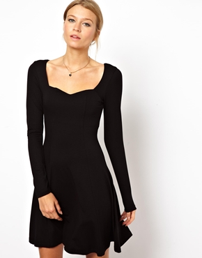 ASOS | ASOS Skater Dress With Sweetheart Neck And Long Sleeve at ASOS