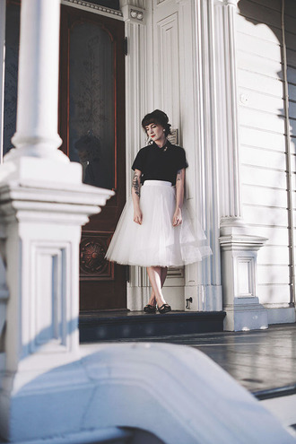 finch and fawn blogger black top tulle skirt