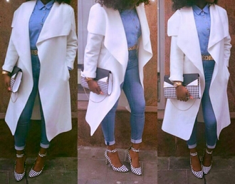 jacket white jacket jeans moschino belt black bag white bag black heels black/white heels whifey black and white heels white heels