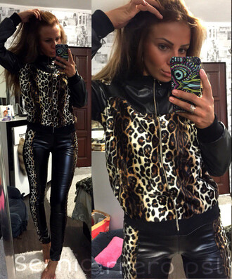 jumpsuit zefinka leopard print leather jacket leather pants black outfit girly top