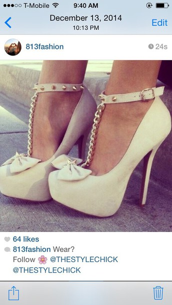 shoes nude bow chains bow spikes chain nude heels fashion