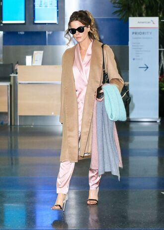 pants blazer suit sandals kate beckinsale camel camel coat coat
