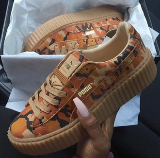 shoes orange creepers puma bape