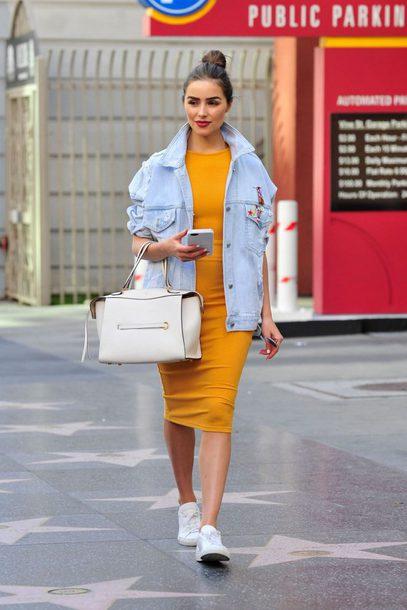 dress midi dress mustard dress mustard sneakers jacket denim jacket olivia culpo spring outfits purse streetstyle