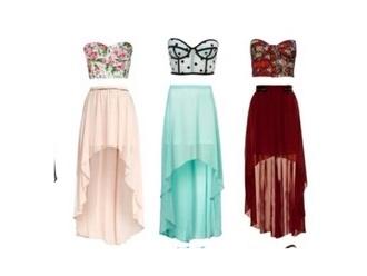 dress floral top hi low skirt polka dots pink teal dress cute skirts cute top
