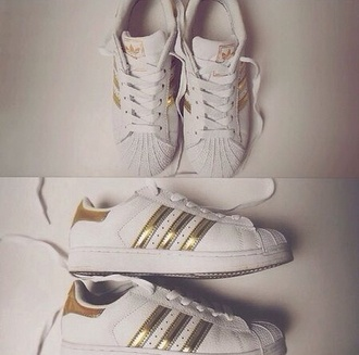 shoes adidas adidas shoes adidas superstars white gold white sneakers sportswear sporty
