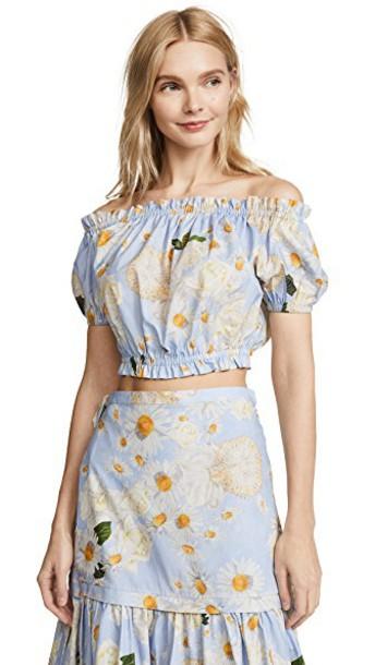 isolda top floral blue