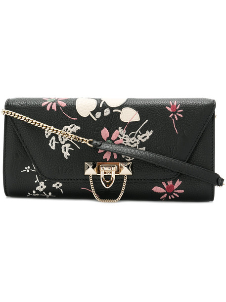 Valentino women clutch leather black bag