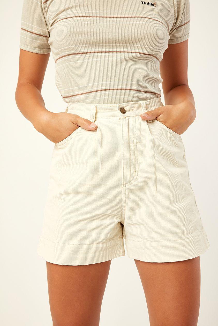Thrills Amalie Pleated Cord Short Off White