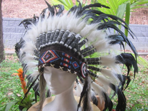 Indian headdress feather war bonnet black x'mas party
