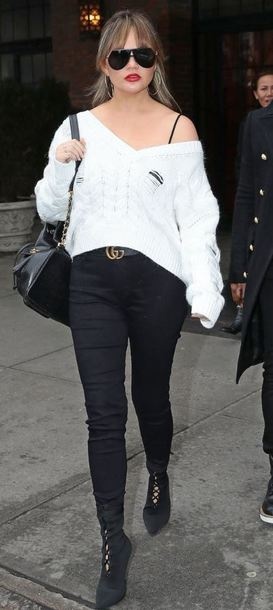 sweater pants sunglasses black and white chrissy teigen model off-duty