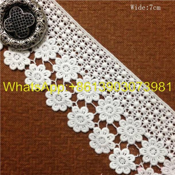 Dress Handcraft Crochet Lace Trim Flower Design Embroidered Lace