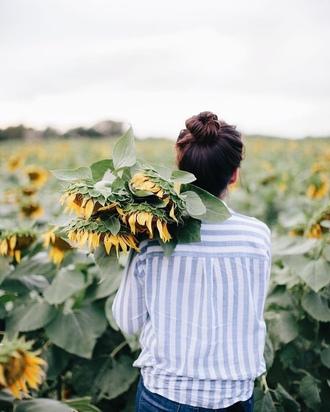 shirt tumblr stripes striped shirt sunflower