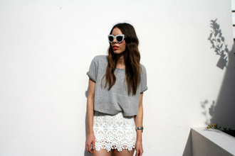grey shirt white skirt sunglasses pale shirt skirt