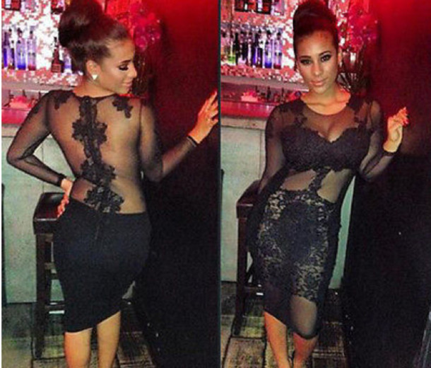 Fashion hot lace show body dress
