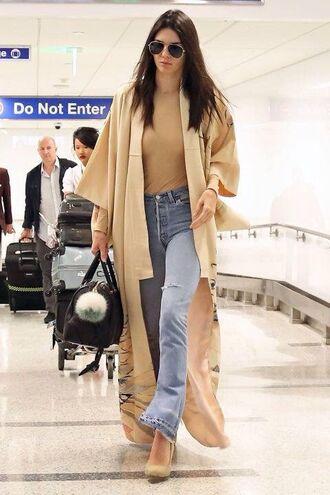 coat nude beige long sexy celebrity style celebrity style kendall and kylie jenner kendall jenner kardashians airport fashion sunglasses