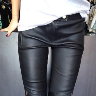pants black leather leggings zips skinny jeans