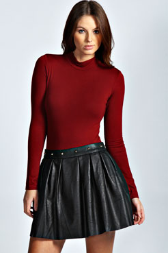 Mai Stud Waist PU Box Pleat Skater Skirt at boohoo.com